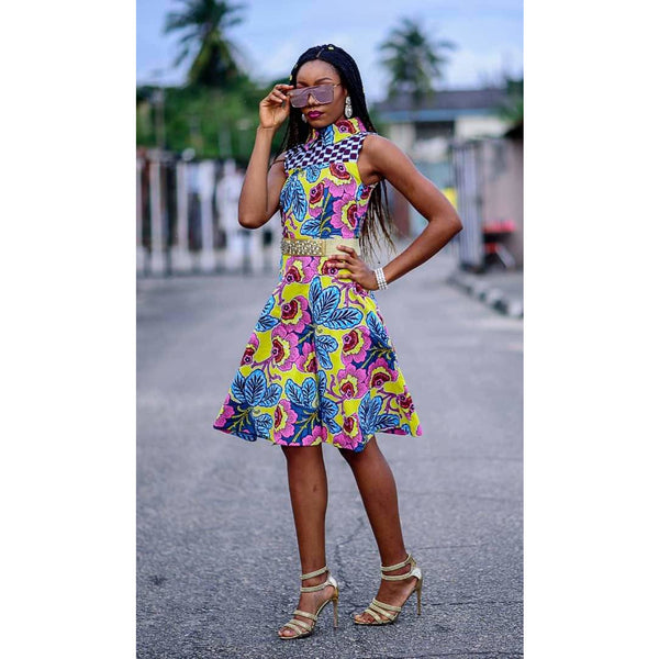 Sade Multicolor Ankara African Print Dress
