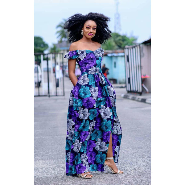 Floral Ankara African Print Off Shoulder Maxi Dress