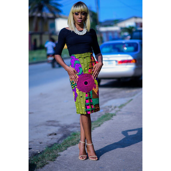 Amida Ankara African Print Pencil Skirt