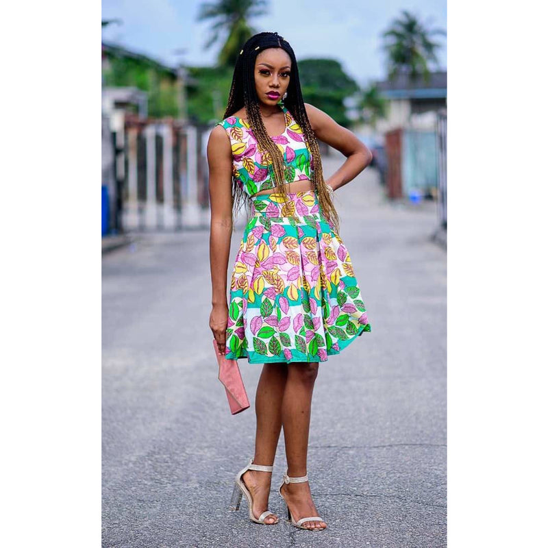 Lola Multicolor Ankara African Print Two Set