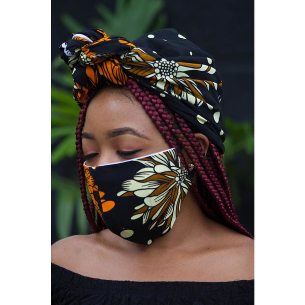 Fashion Bee Boutique - Ankara Black/Brown Face Mask & Head Wrap Set