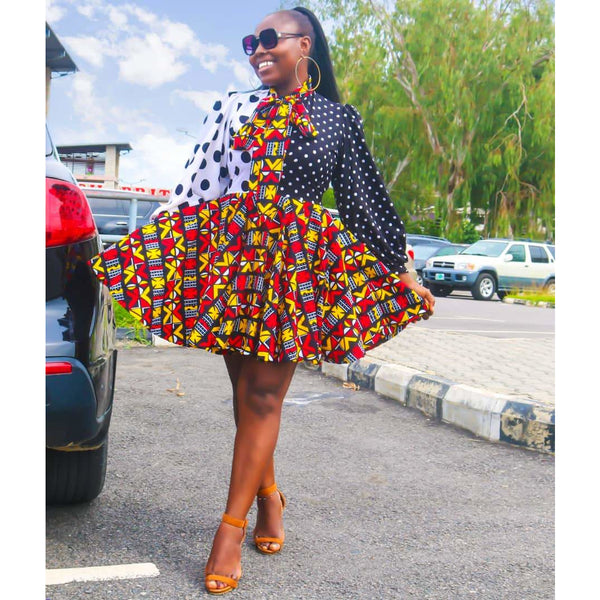 Polka Dot Multicolor Ankara African Print Dress
