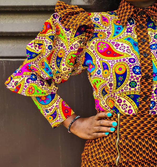Adebisi Multicolor Ankara African Print Dress - READY TO SHIP