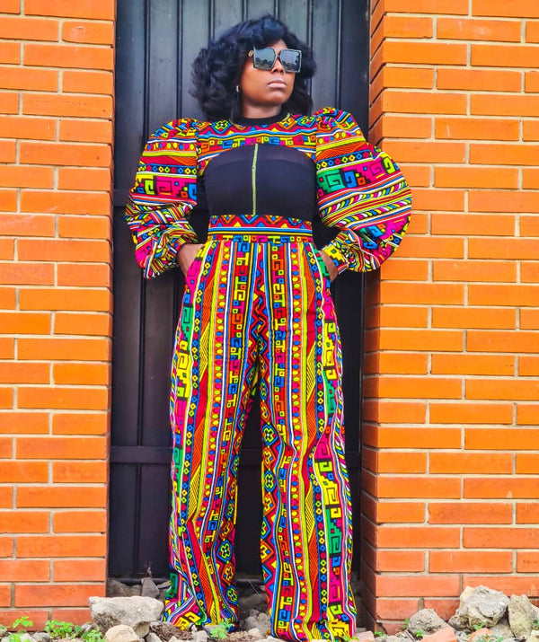 Abosede Multicolor Ankara African Print Dress Pants - READY TO SHIP