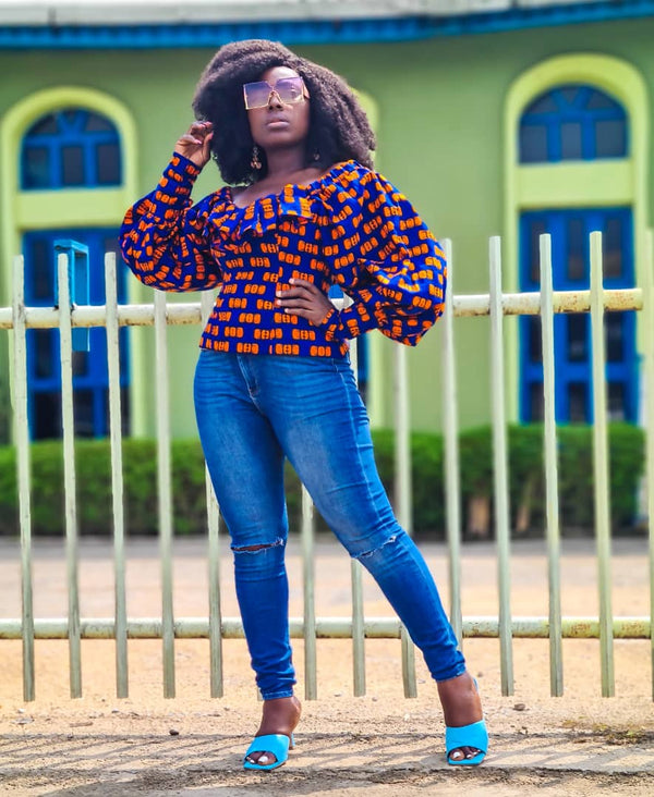 Ayomide Multicolor Ankara African Print Top - READY TO SHIP