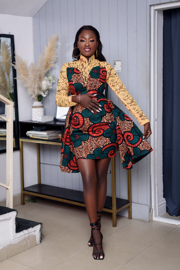 Adauke Multicolor Ankara African Print Dress