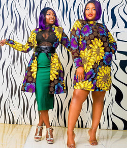 Isa Multicolor Ankara African Print Jacket Dress