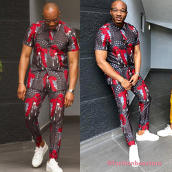 Men's Multicolor Ankara African Print Two Piece Set - Ubi