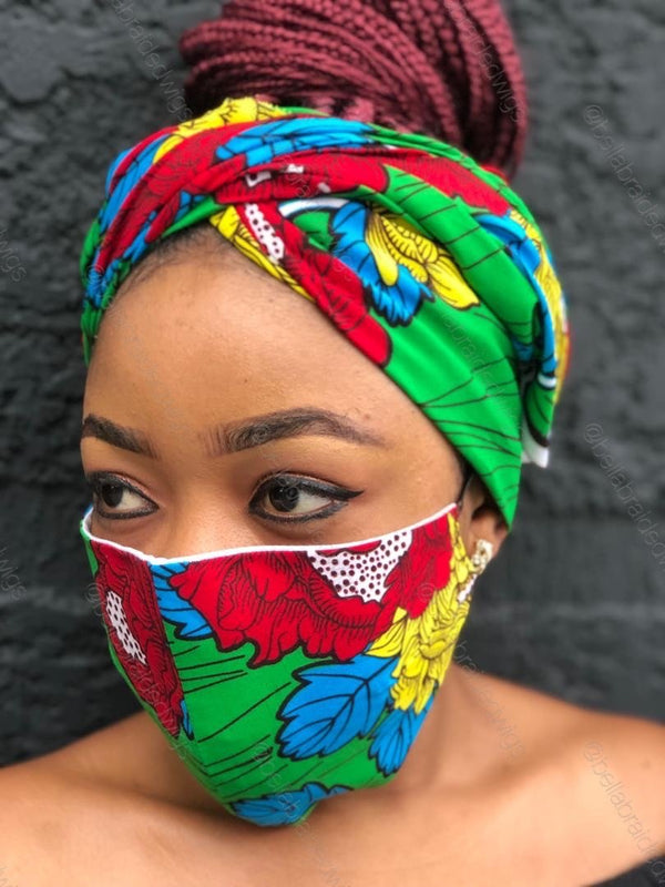 Fashion Bee Boutique - Ankara Red/Green Face Mask & Head Wrap Set