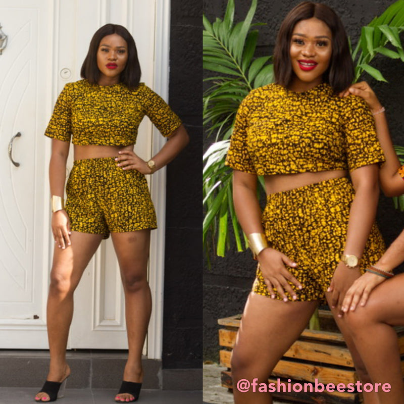 Riri Multicolor Ankara African Print Two Set Short