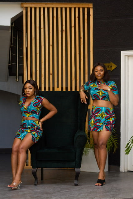 Chidera Multicolor Ankara African Print 2 Set Dress