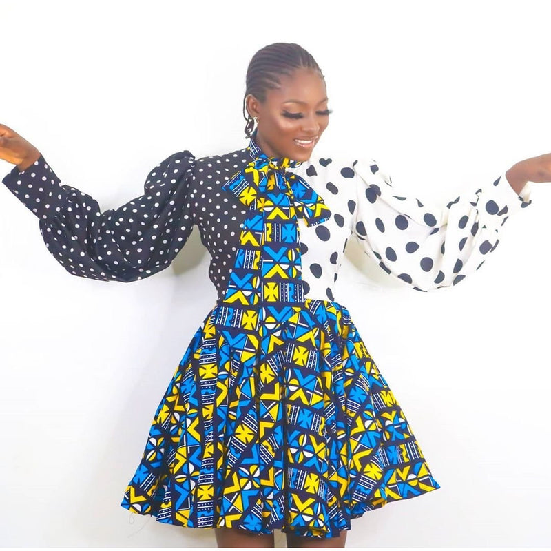 Polka Dot Multicolor Ankara African Print Dress Blue