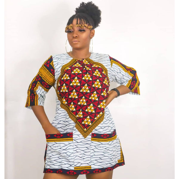 Amaka Multicolor Ankara African Print Dress