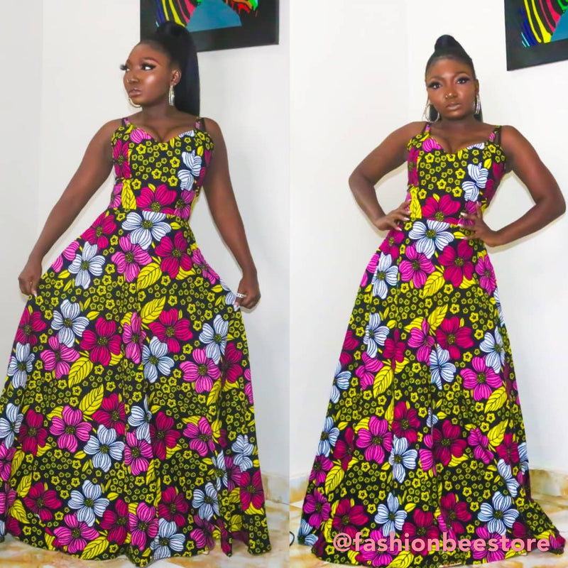 Layo Multicolor Ankara African Print Dress
