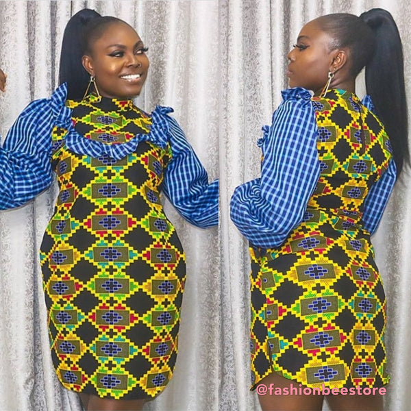 Nikki Check Multicolor Ankara African Print Dress