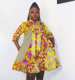 Adanna Multicolor Ankara African Print Dress