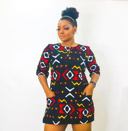 Ama Multicolor Ankara African Print Dress