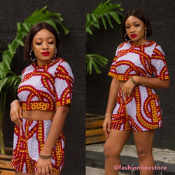 Ruby Multicolor Ankara African Print Two Set Short