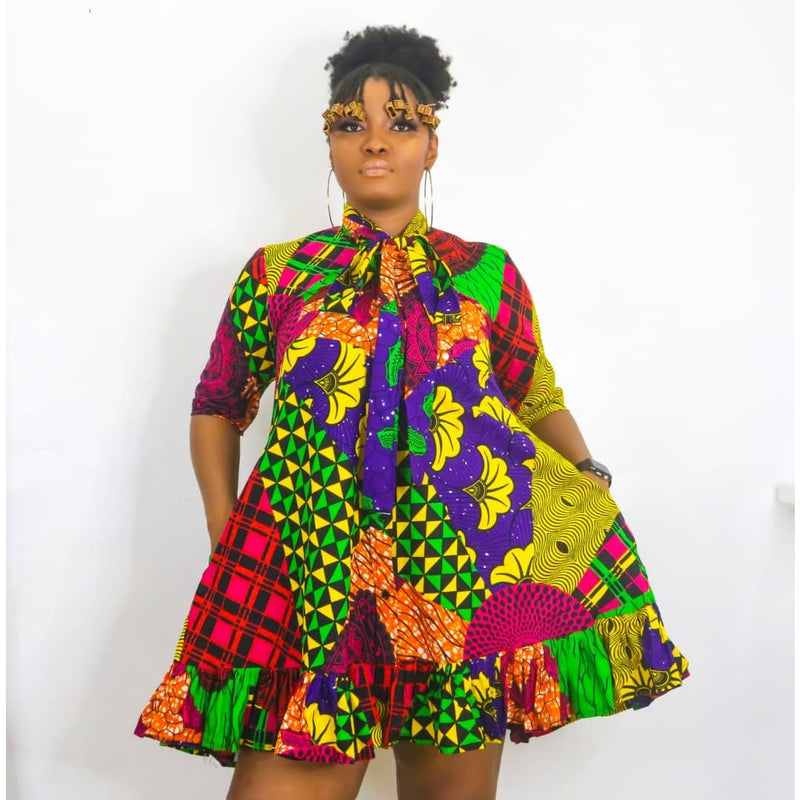 Adaobi Multicolor Ankara African Print Dress