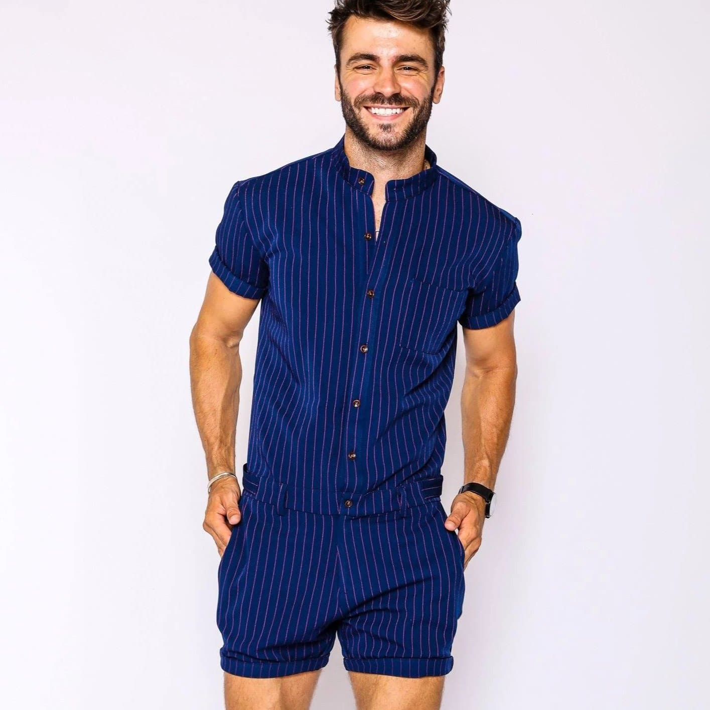 Navy Chateaux Romper - RomperJack, Men's Romper - Male Romper