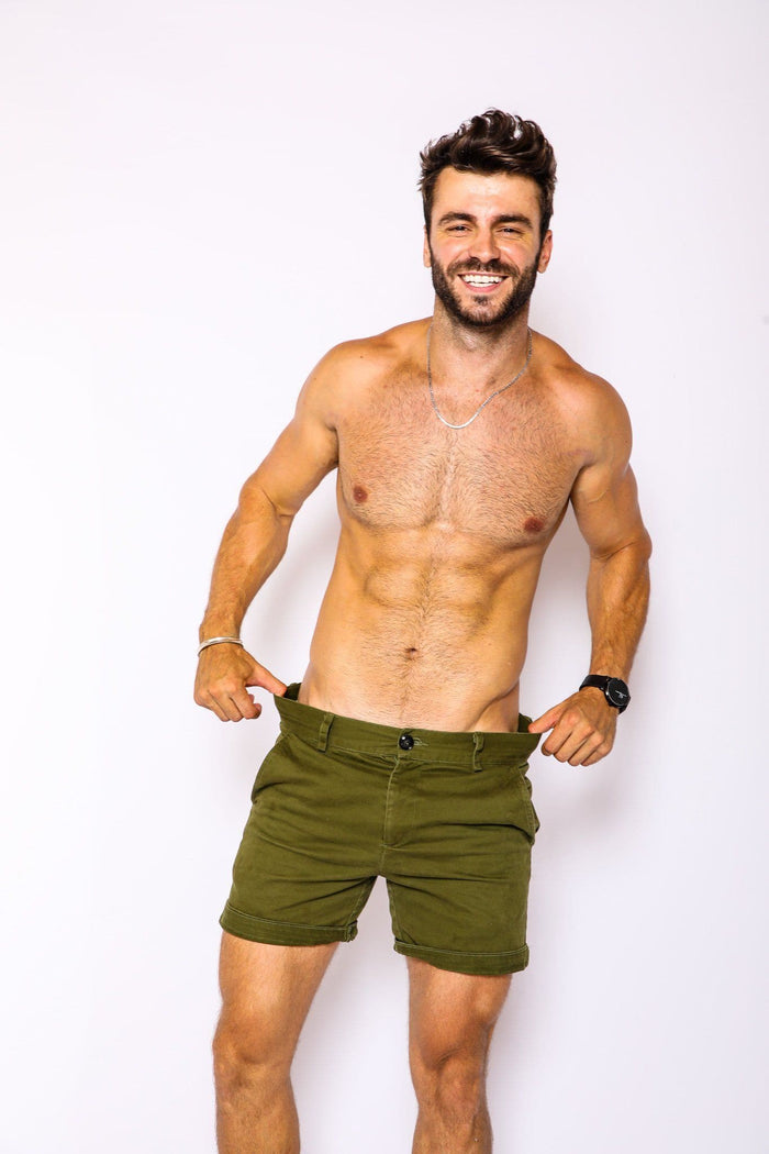 Olive Slim Fit Shorts - RomperJack,  - Male Romper