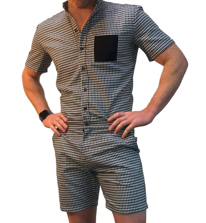Houndstooth PREMIUM - RomperJack, Men's Romper - Male Romper