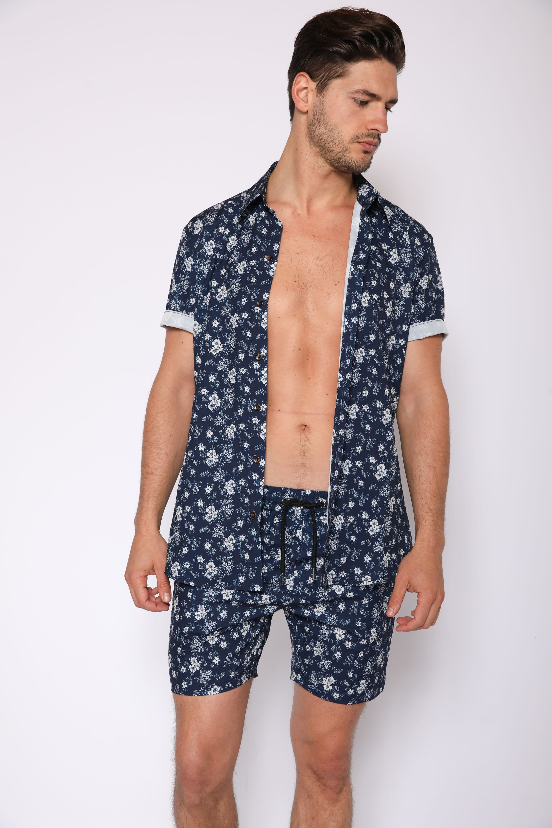 Two Piece Navy Floral Print - RomperJack, Men's Romper - Male Romper
