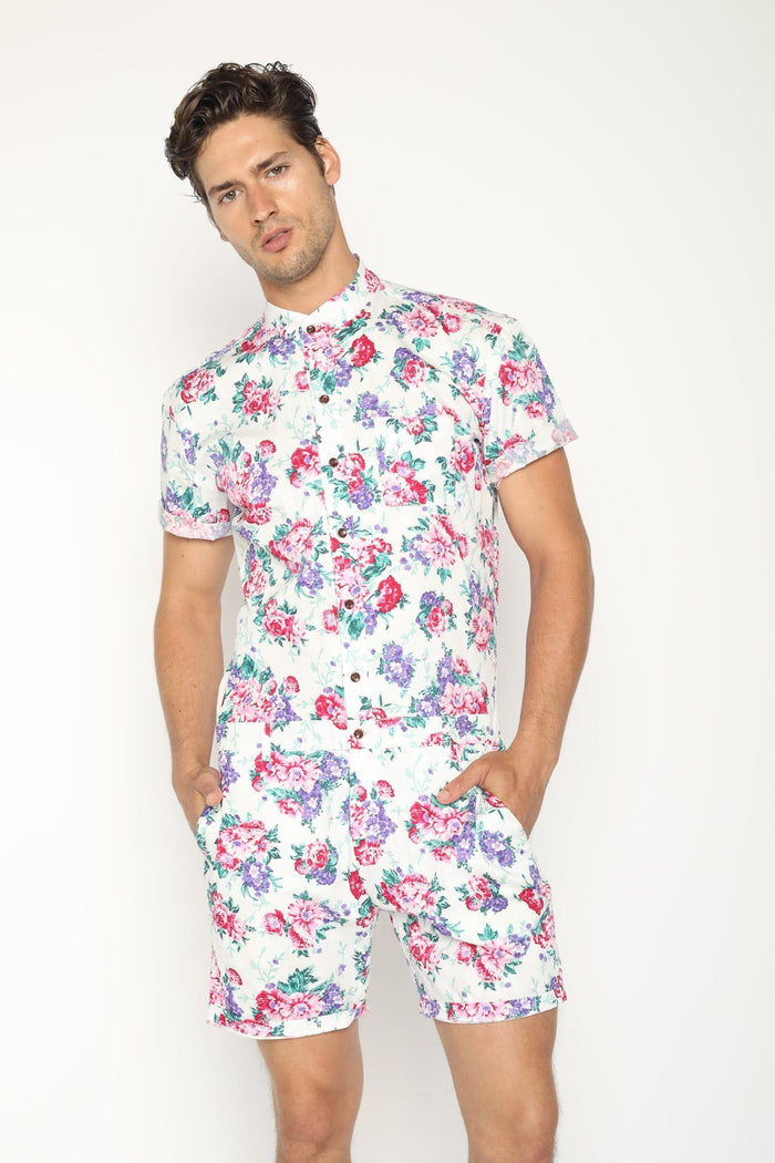 Premium White Hawaiian  (PRE ORDER) - RomperJack, Men's Romper - Male Romper