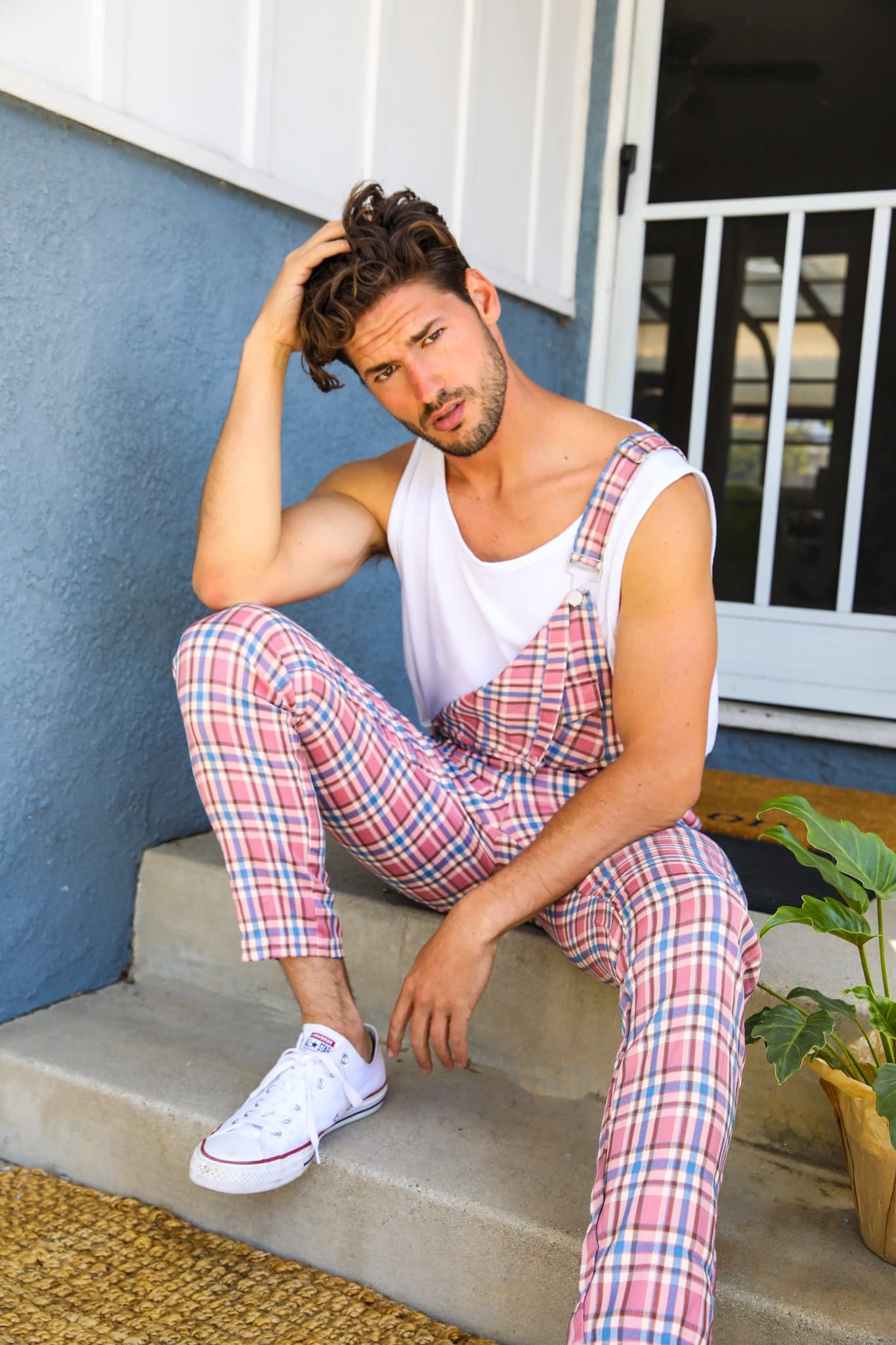 Pink Plaid Caddyshack Overalls