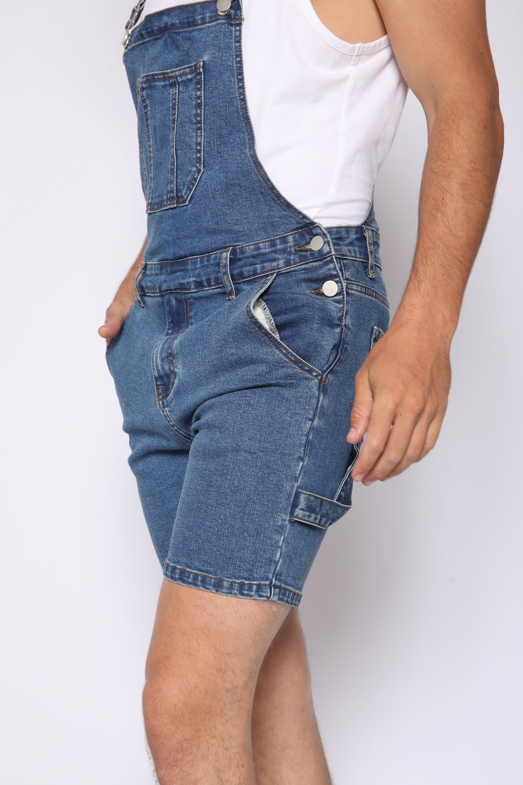 Blue Denim Overall Shorts (Pre Order)