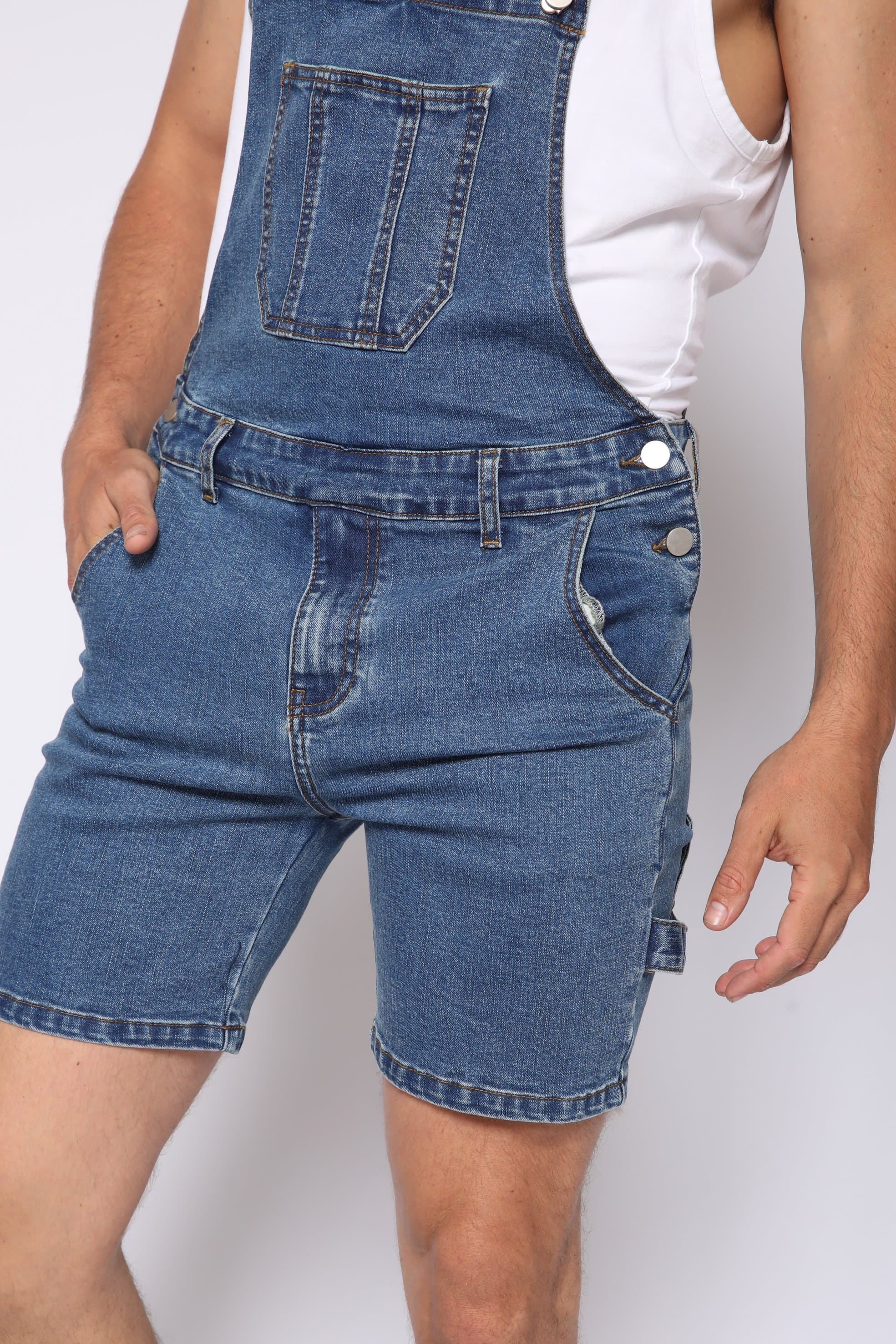 Blue Denim Overall Shorts