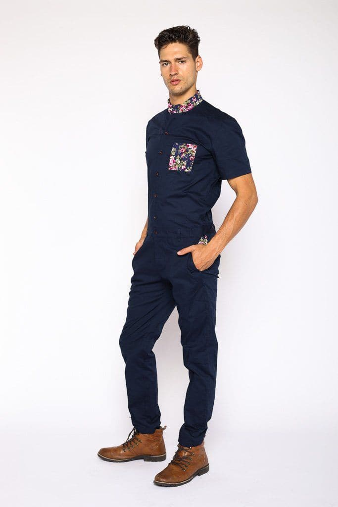 Navy Rosé Jumpsuit (Back Order Sale ships April) - RomperJack, Mens Jumpsuit - Male Romper