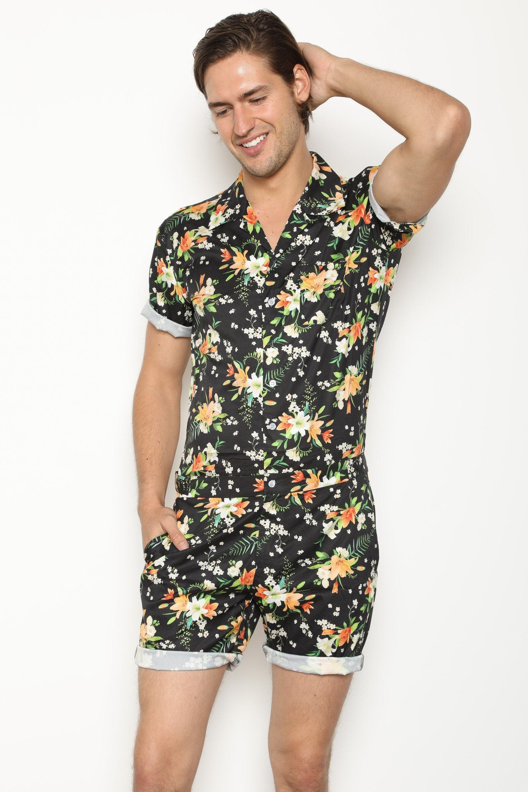 Tropical Black (Pre Order) - RomperJack, Mens Romper - Male Romper