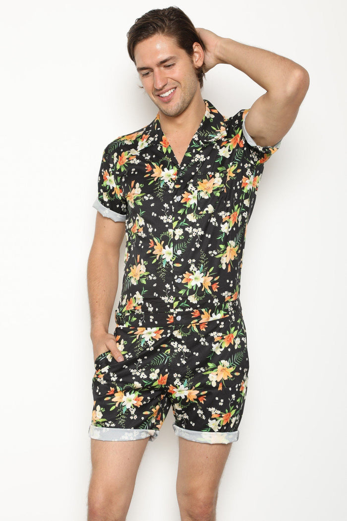 The Original Male Romper in Tropical Black