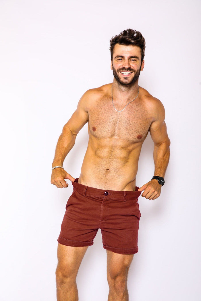 Dark Red Slim Fit Shorts - RomperJack,  - Male Romper