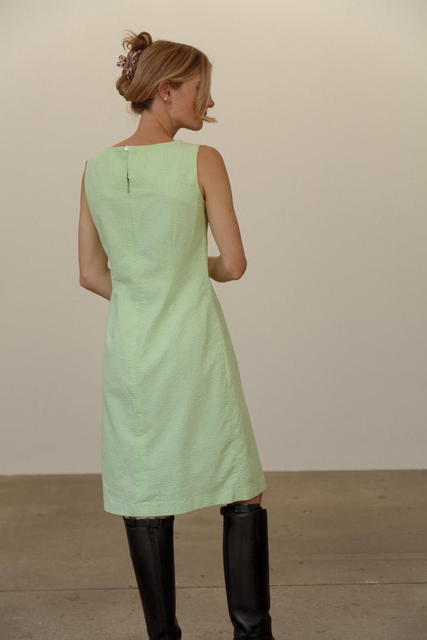 Vintage Green Gingham Cotton Dress