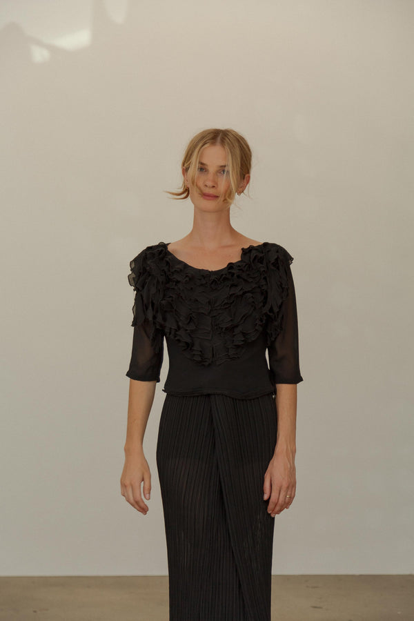 Vintage Black Silk Ruffle Top