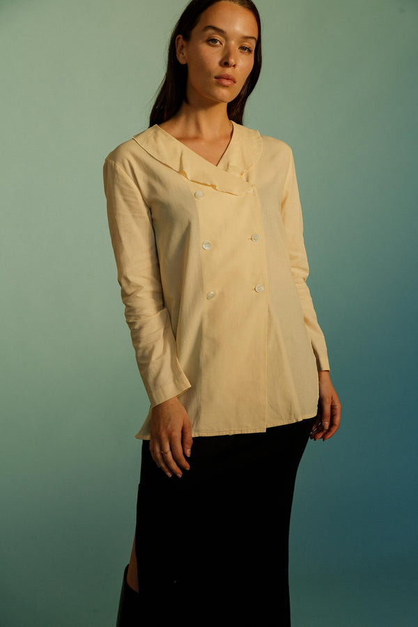Vintage Cream Cotton Double Breasted Shirt