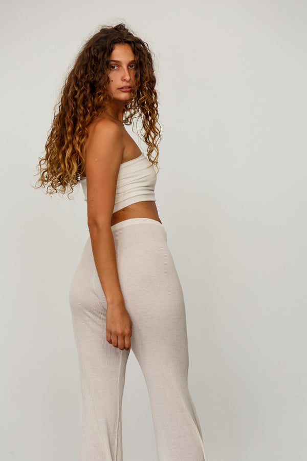 Nile Silk Ribbed Pants