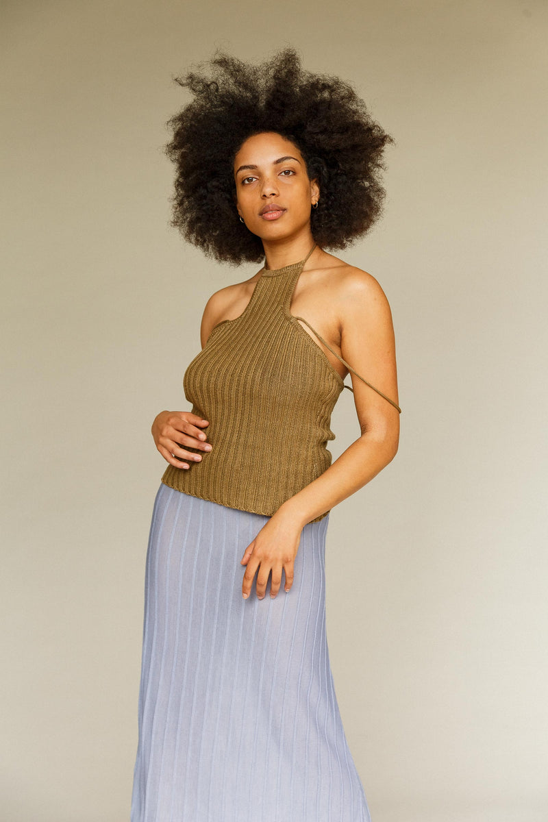 Shimmy Silk Ribbed Skirt