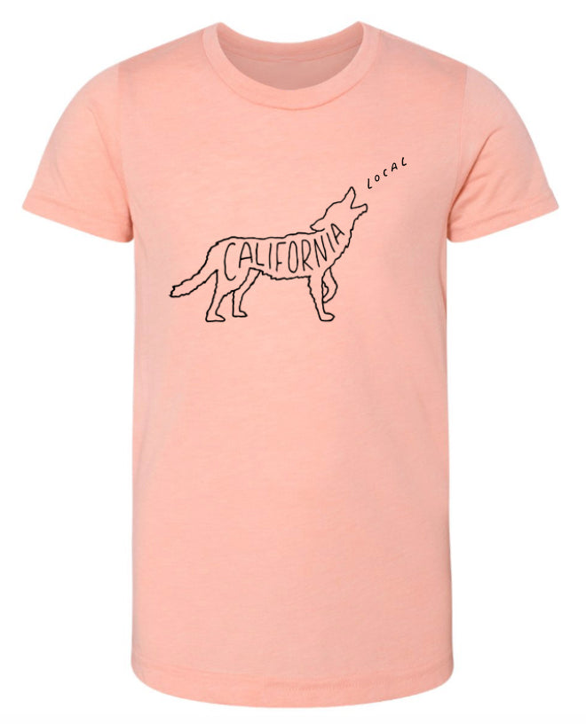 Call of the Coyote, Kids Tee - Peach