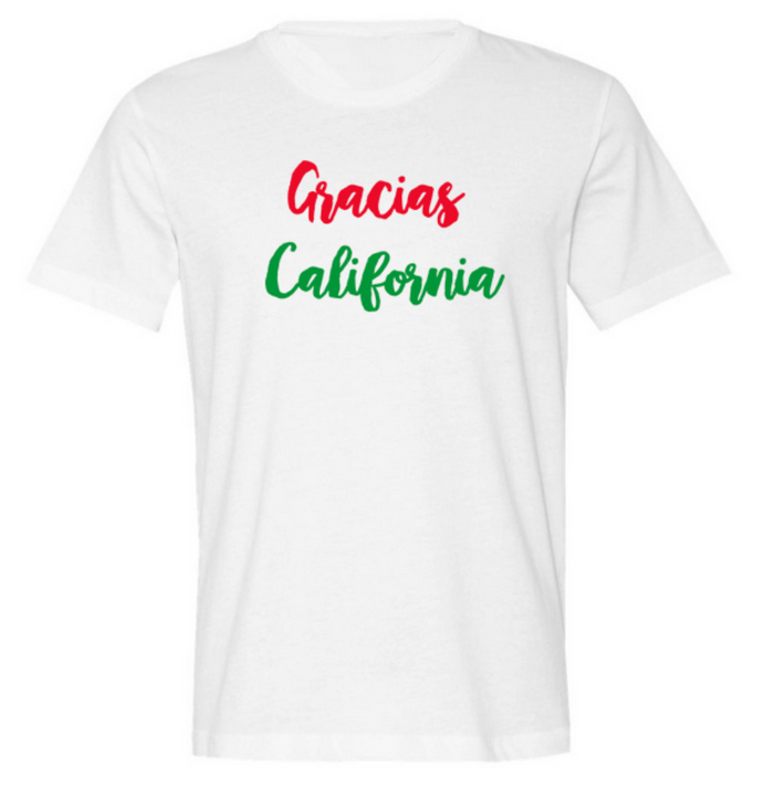 """Gracias California Classic Logo"" Tee Red and Green"