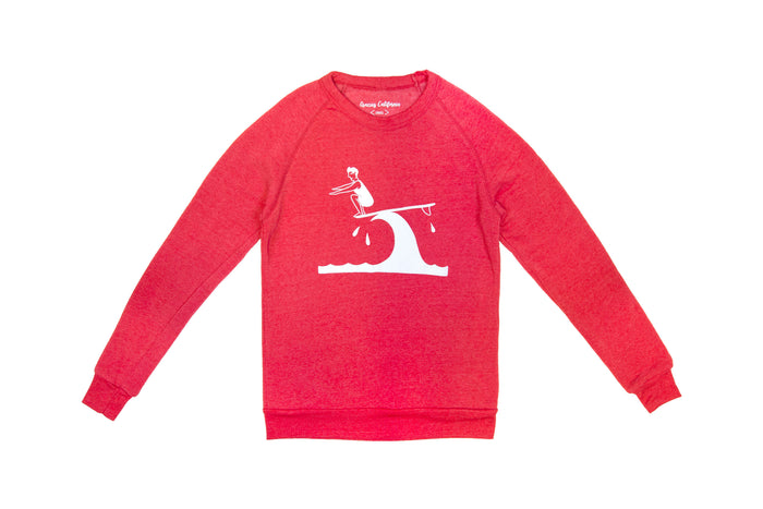 """Hang Ten by Brian Calvert"" / Unisex Red Sweatshirt"