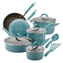 12-Pc Cucina Porcelain Aluminum Cookware Set (Agave Blue)
