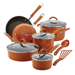 12-Pc Cucina Porcelain Aluminum Cookware Set (Pumpkin Orange)