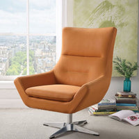 My Decor Center - Eudora Accent Chair (Orange Leather Gel)