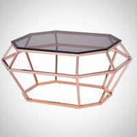 My Decor Center - Clifton Coffee Table (Smoky Glass & Rose Gold)