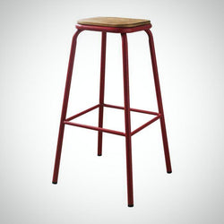 My Decor Center - Scarus Bar Stool (Natural & Red)