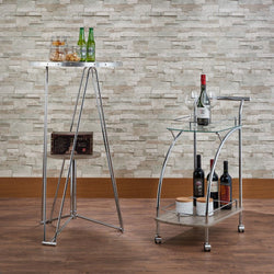 My Decor Center - Free Shipping - Acme Furniture, Badin - Serving Cart (Chrome & Clear Glass)