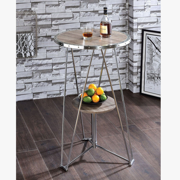 My Decor Center - Jarvis Bar Table (Gray Oak & Chrome)
